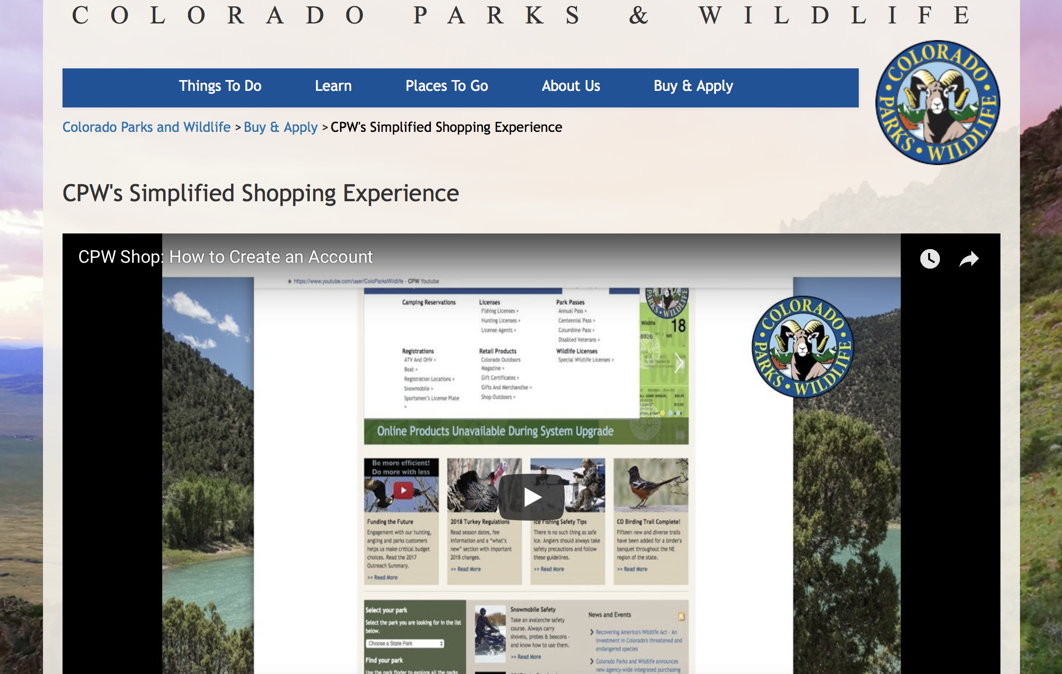 Creating an Account on CPW'S New Licensing System